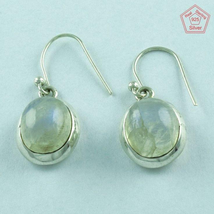 925 Handmade Sterling Silver Rainbow Moon Ston Semi Precious Stone Earring E3397 #SilvexImagesIndiaPvtLtd #DropDangle