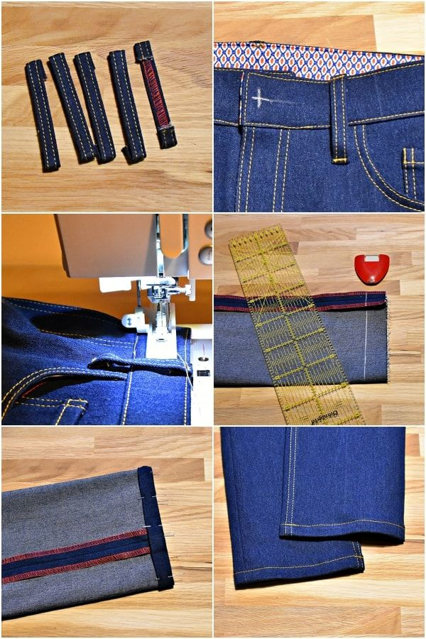 Jeans Sewing Tutorial Part 12: Belt loops, hem and buttonhole