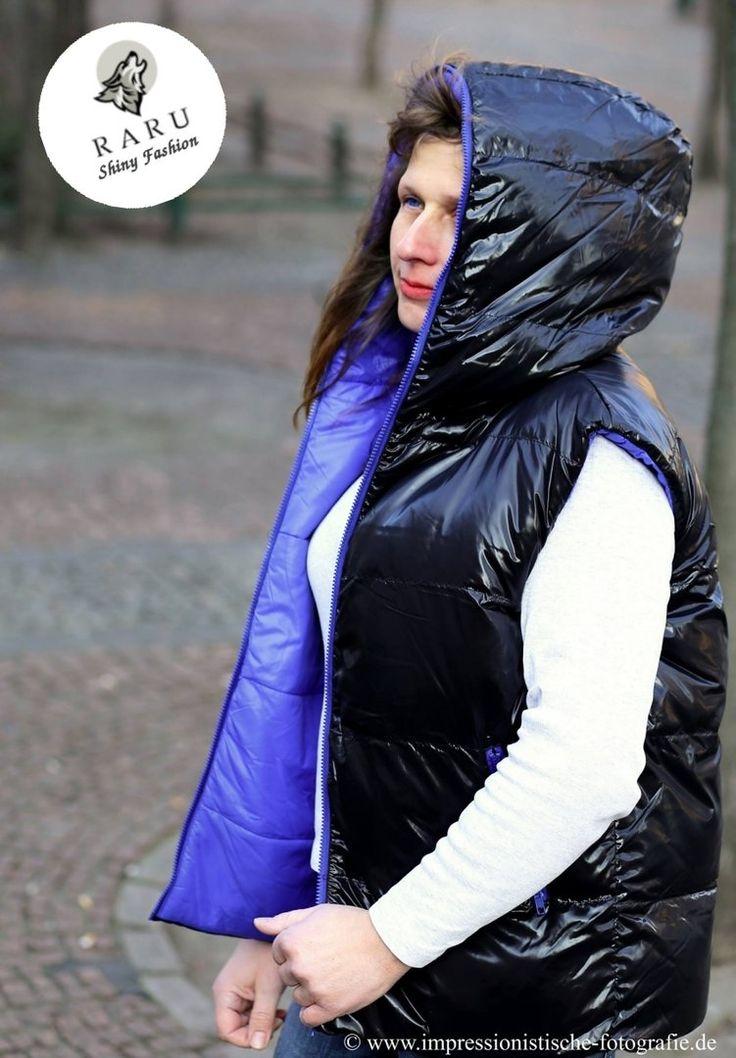 RARU Glanznylon Winterweste Steppweste schwarz- blau