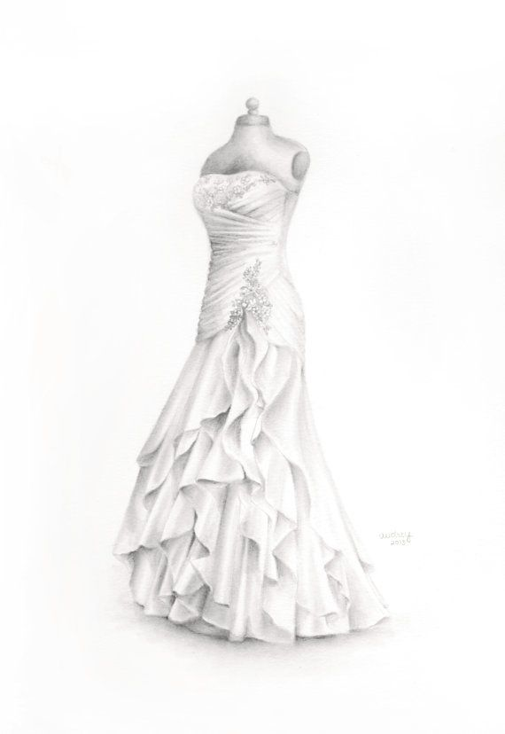 Custom wedding dress drawing wedding illustration memory for How to draw a wedding dress