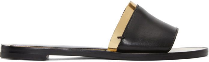 Lanvin Black and Gold Flat Sandals