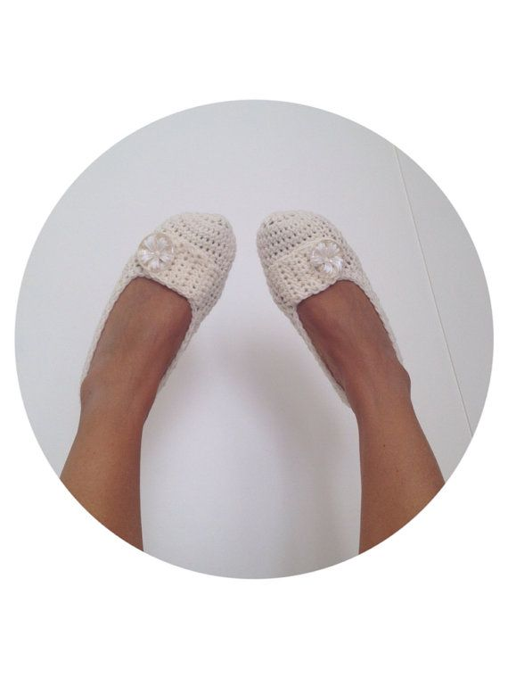 Cream Ivory Beige With White Flower Button Crochet Wedding Womens Slippers, Ballet Flats, House Shoes on Etsy, $25.00