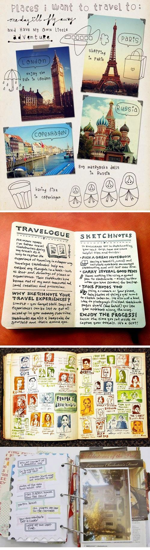 Travel Journal Idea. I LOVE LOVE LOVVVVEEEE this!!!!! This would be a great DIY project to do before I go on big long trips to different countries! I just love journaling and of course the obvious. .. Traveling:)