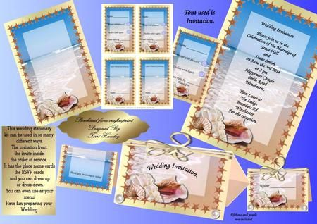 A great wedding stationary set for a beautiful Beach wedding.  The stationary sheet can be used for the inside of the invitation, and the out side, can be used for the order of service, and even the menu for the table, the other sheet is for the name cards for the table which has a thank you on the back, and an RSVP card to send with your invite when finished fits any DL envelope. Enjoy