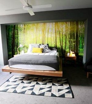 """Forest wallpaper mural used by Bec and George on The Block Sky High. add the amazing floating bed and this room has the """"wow factor"""". Floating through the forest. http://www.wowwallpaperhanging.com.au/forest-wallpaper-used-by-bec-and-george-the-block-sky-high/"""