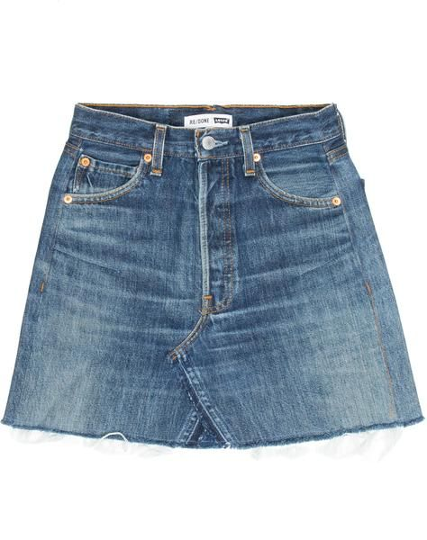 14d7989c4b The RE/DONE High Rise Mini Skirt, made from repurposed vintage Levi's jeans,