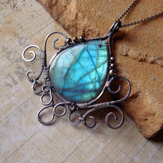wire-wrapped labradorite pendant