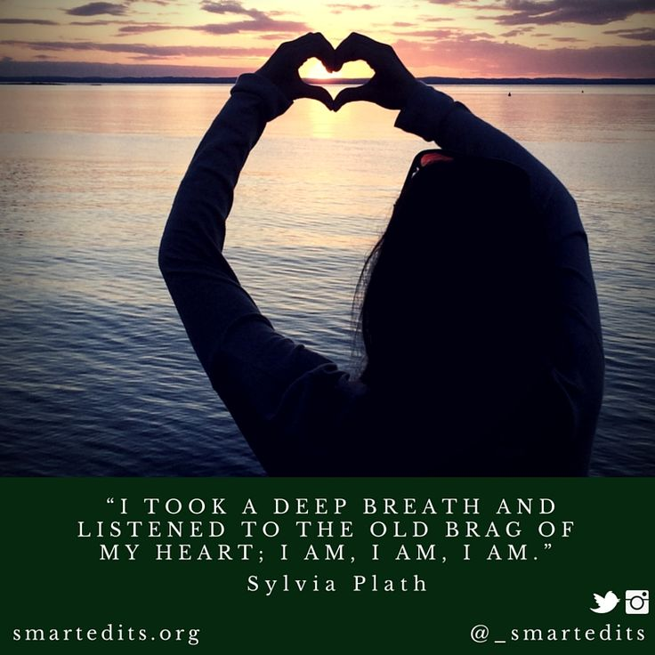 """""""I took a deep breath and listened to the old brag of my heart; I am, I am, I am."""" - Sylvia Plath  #QOTD #LiteraryQuotes #365Quotes #DailyQuotes #Literature #Reading #Books #WordsofWisdom #WiseWords #BookLove #Book #Novel #Authors #Inspiration #DailyInspiration #BookNerd #Bookworm #SylviaPlath #LifeQuotes"""