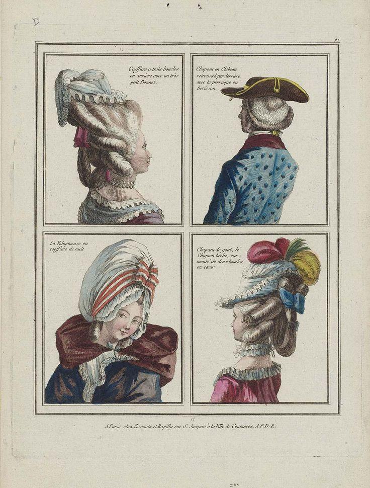 Coeffure a trois boucles en arriere avec un très petit Bonnet, Chapeau en Clabeau retroussé par derriere avec la perruque en herisson, La Voluptueuse en coeffure de nuit, Chapeau de gout, le Chignon lache, surmonté de deux boucles en coeur
