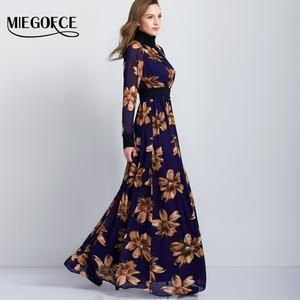 Muslim Abaya Style Long Sleeve Floral Print Dress With Neck Wrap Back Buttons