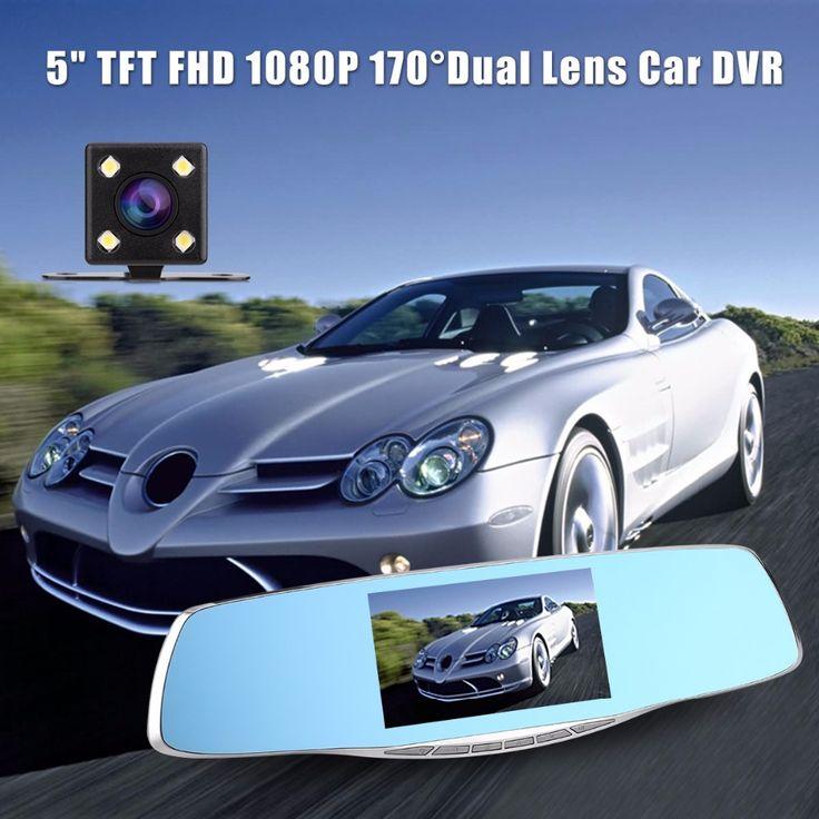 """Купить товарFull HD 1080 P 5 """"TFT ЖК Экран Тире Камерой с Двумя Объективами Резервного Копирования Зеркало Заднего Вида Автомобиля Камера DVR Цифровой Видеорегистратор Ночного Видения в категории  на AliExpress.   2016 Newest Mini Car DVR Camera GT300 Camcorder 1080P Full HD Video Registrator Parking Recorder G-sensor Dash Cam Mul"""