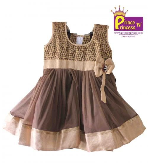 Kids Brown cute Party & Birthday frock.. BUY Online @ www.princenprincess.in