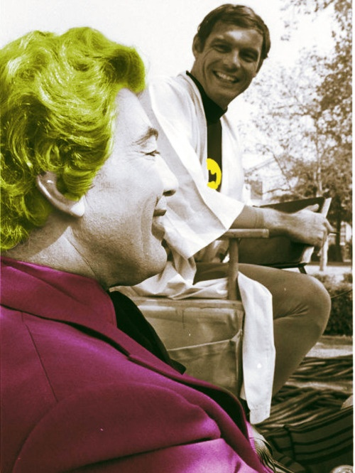 BEST PHOTO EVER!  Adam West & Cesar Romero hanging out together.  Batman and The Joker, just chillin' like a villain...