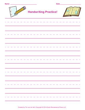 Pink Handwriting Paper Template for Girls