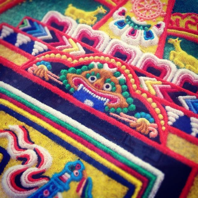 Sand mandala. Tibetan Mongolian Buddhist Cultural Center, Bloomington, IN. Photo by Nila Nealy.