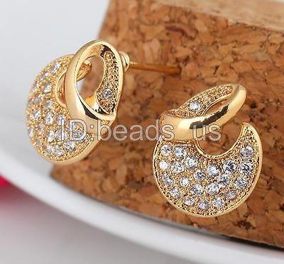 Fashion Women Jewelry 18K Gold Plated Cubic Zirconia Stud Earring