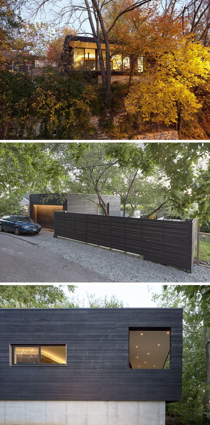 Architecture firm el dorado Inc., have designed a modern house that's built into a sloped, urban site in the Westside neighborhood of Kansas City, Missouri. #ModernArchitecture #ModernHouse