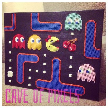 Ms Pac Man canvas perler pixel art by Cave of Pixels