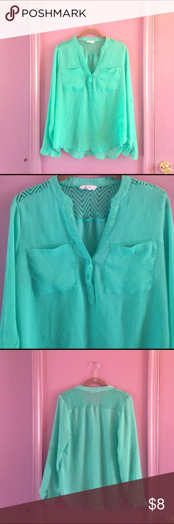 Adorable Mint Blouse! Excellent condition mint or seafoam top by Candie's. Has buttons on sleeves so you can roll them up or leave them down. Sheer fabric. Cute chevron crochet type detail on the back. So unique and awesome! Candie's Tops Blouses