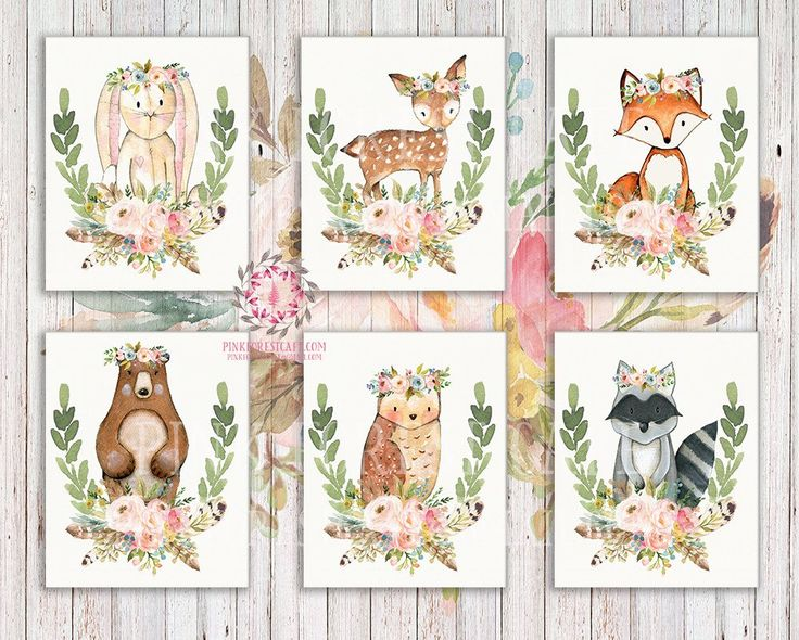 Set Lot of 6 Woodland Boho Bohemian Feather Floral Nursery Baby Girl Room Prints Printable Print Wall Art Home Décor deer watercolor flowers fox fawn bunny rabbit wise owl raccoon bear wall art gallery pink forest café feathers tribal woodland