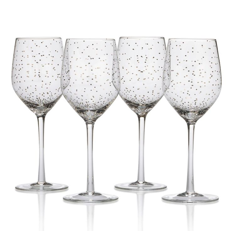 Lustre Set of 4 Dots Platinum Wine Glasses online at Mikasa.com