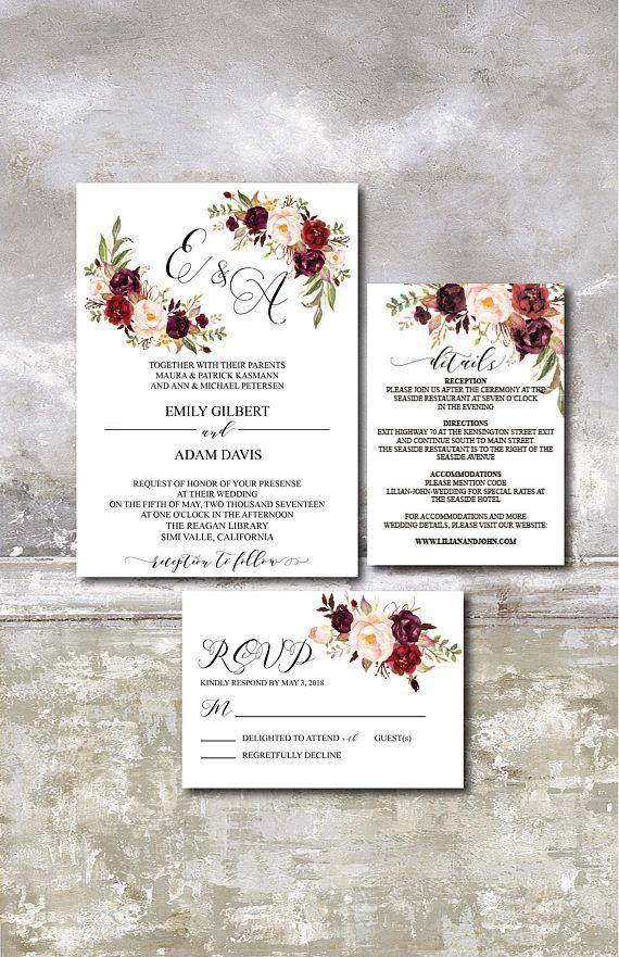 Burgundy Wedding Invitation Suite Template, Marsala Wedding Invitation Printable, Editable Wedding Invite, 030