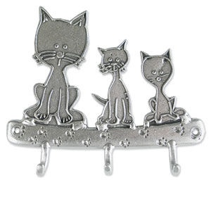 Hand Crafted Pewter Key Rack - Three Patient Kitties $35