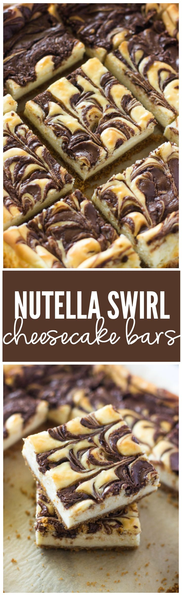 Smooth and creamy Cheesecake bars on a buttery graham cracker crust with swirls of Nutella.