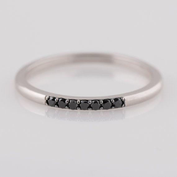 Black Diamond Band, Stackable 14K White Gold Band, Thin Band, stacking band, Thin Band, Dainty Stacking Ring, Wedding ring, unique band