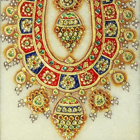 Crimson Necklace Marble Art: Traditional Indian neckpiece gets a crimson makeover in this marble art painting.