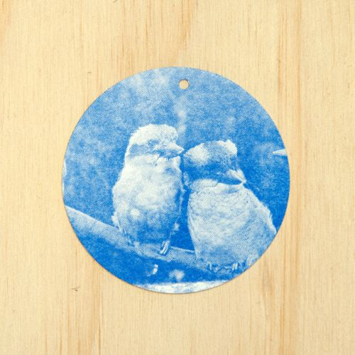 E&W Kookaburra Gift tag - Royal blue on white