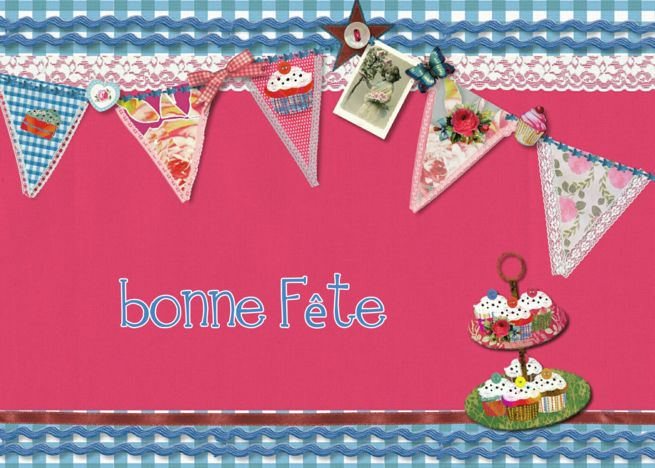Happy Birthday In French Canadian Bunting Cupcake Scrapbook Style Card Ad Ad French Happy Birthday In French Happy Birthday In Japanese Cupcake Card