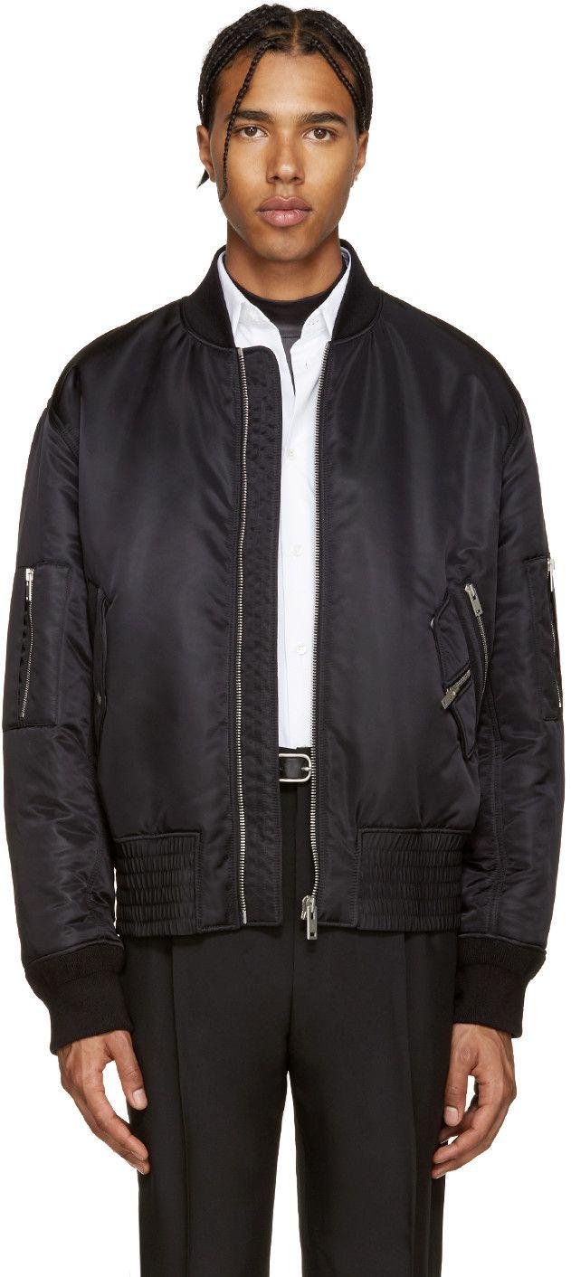 MAISON MARGIELA Black Nylon Bomber Jacket. #maisonmargiela #cloth #jacket