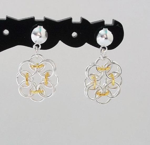Silver & Gold Earrings  Flower