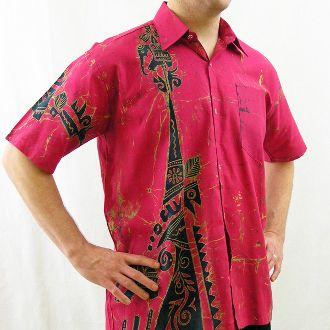 Men's Batik Shirt - Black Traditional Motif on Fuschia (XL)