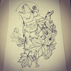 wolf in leaves drawing