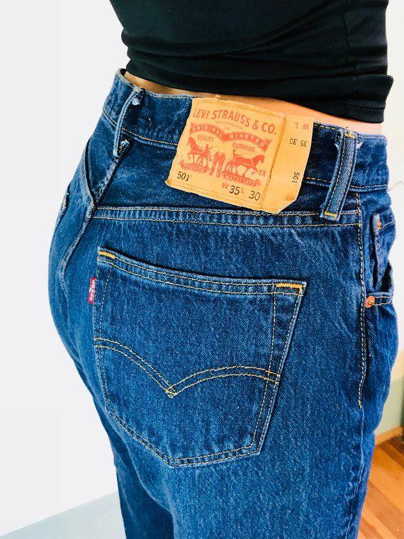 059eccefb6d Vintage LEVIS 501s, Button Fly Jeans, Mid Rise Levi's, Dark wash ...