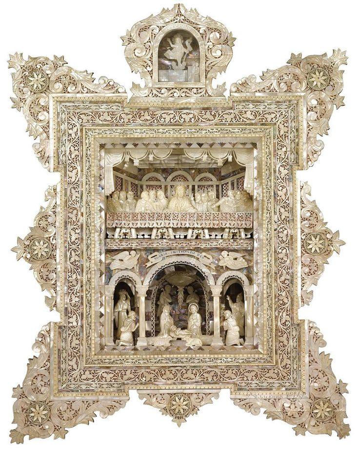 Старинные иконы из перламутра. 19 век