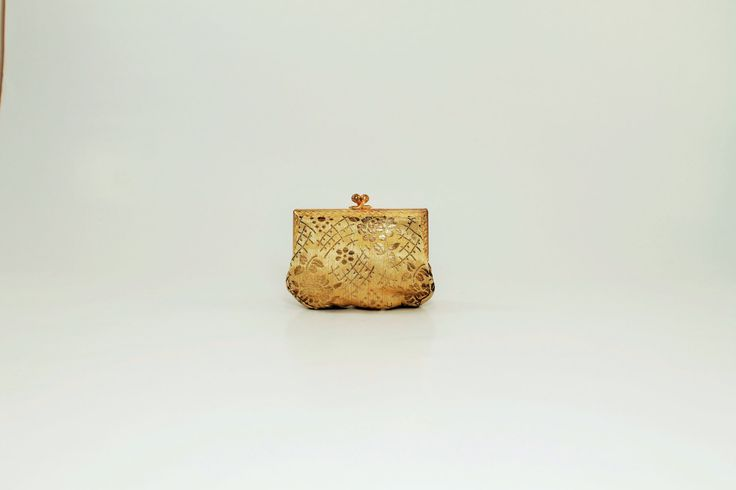 Gold Beaded Clutch Purse, French Evening Purse, Gold Change Purse, Cosmetic Bag by ClockworkRummage on Etsy