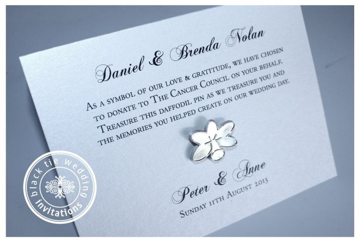 Charity Donation in lieu of traditional bombonierre or wedding favours.