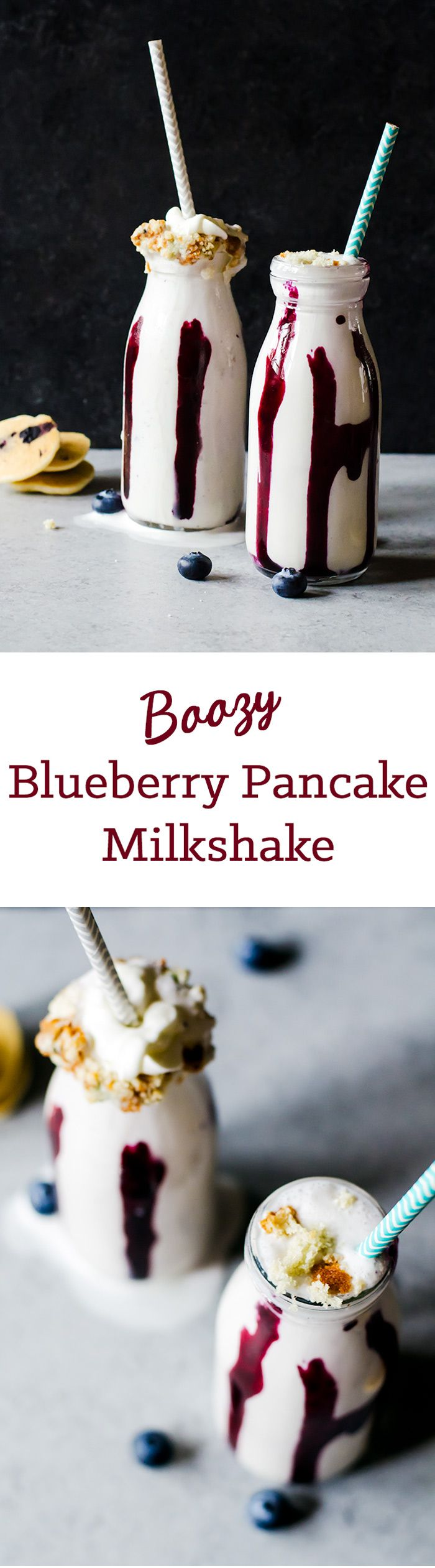 Boozy Blueberry Pancake Milkshake - Tastes exactly like a blueberry pancake. Now have breakfast for dessert and have a little fun, too!