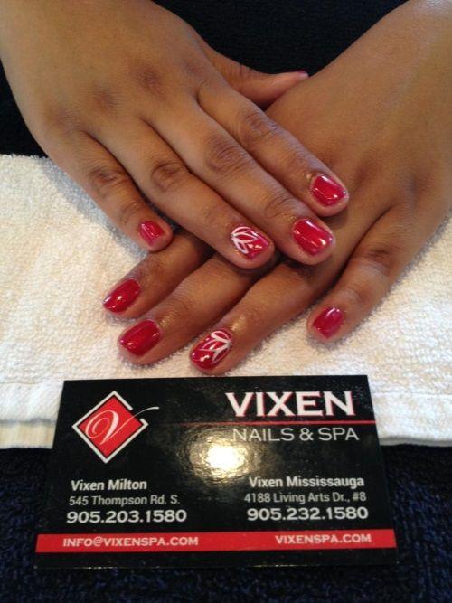 Polished shine Shellac with nail art #VIXENSPA #nailart