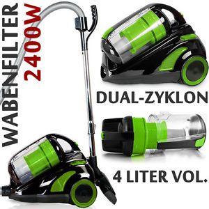 DUAL-ZYKLON-SCHWARZ-GRUN-2400-Watt-beutelloser-Staubsauger-mit-Zubehoer