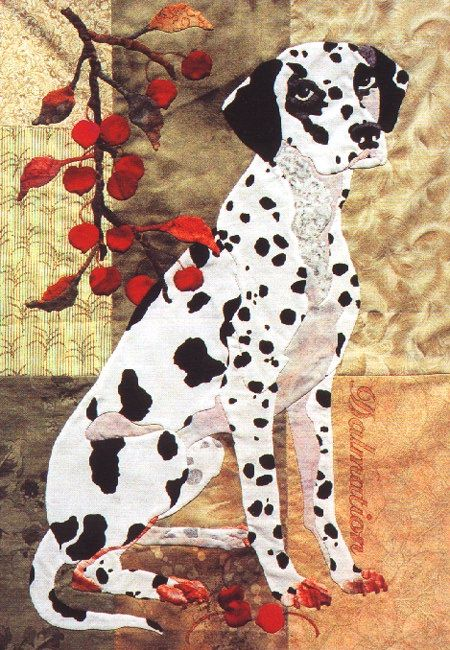 Summer's End Block #7  Dalmatian and Crab Apple from Summer's End Quilt by Maggie Walker -  applique pattern