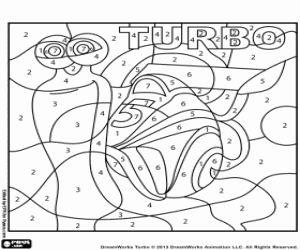 Kleuren op nummer, Turbo, de race-slak kleurplaat