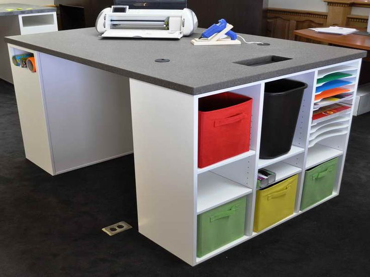 58 best desks images on pinterest work spaces desks and for Corner craft table with storage