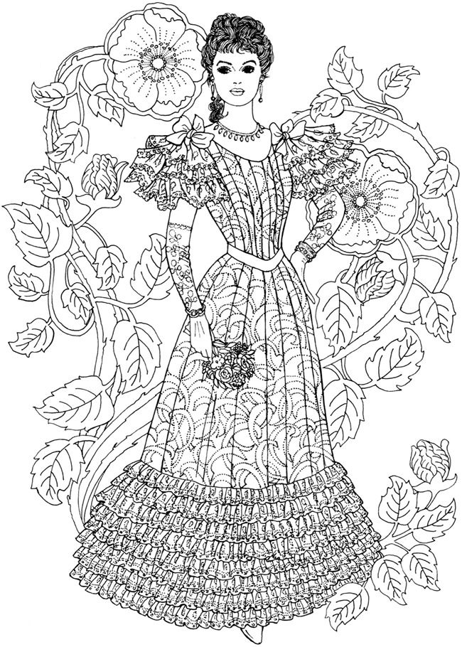 free coloring book page from dover art nouveau fashion