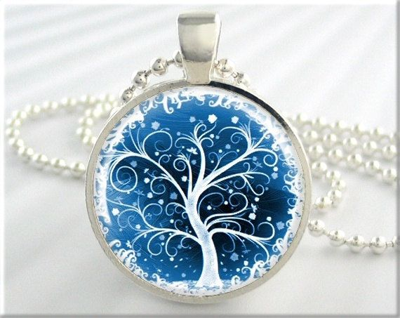 Tree Of Life Jewelry Pendant. One round silver plated art pendant charm featuring a bright winter like tree of life plus a matching ball chain necklace.  See more Tree of Life pendants here: www.etsy.com/shop/MGArtisanPendants/search?search_query=tree+of+life&order=date_desc&view_type=gallery&ref=shop_search  === See Discount Offers Here === www.etsy.com/shop/MGArtisanPendants/search?search_query=...
