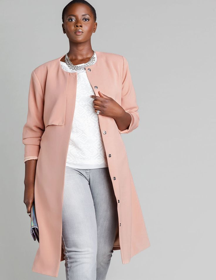 Plus Size Coat - Plus Size Carmakoma Structured tie belt duster coat in Pink