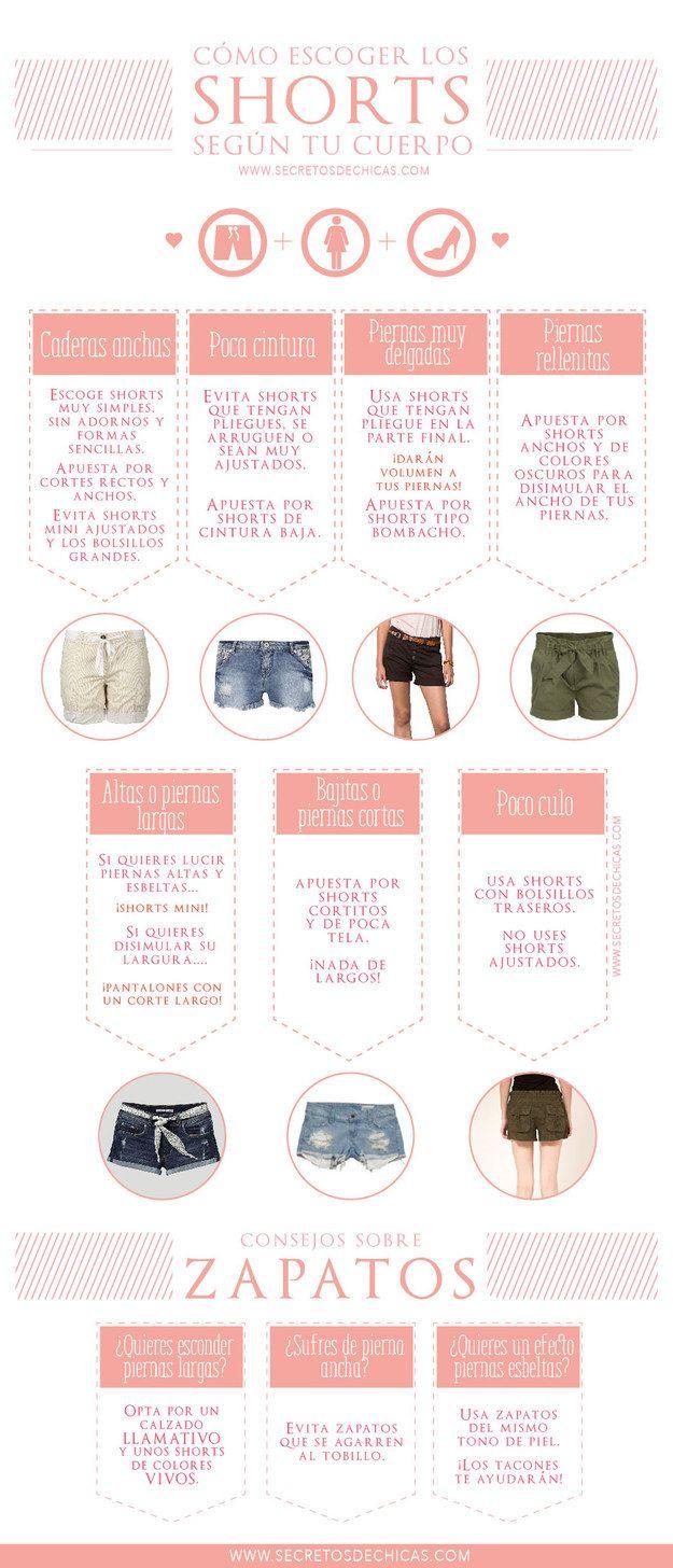 Encontrar el par de shorts perfectos nunca más será un dolor de cabeza.   18 Guías visuales de estilo que toda mujer necesita en su vida